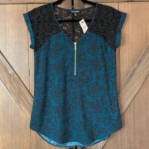 NWT Express women's 1/4 zip-up blouse